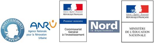 Investissements avenir   Agence Nationale pour la Rénovation Urbaine   Nord le Département   Ministère Education Nationale   Commissariat Général à L'Investissement